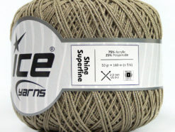 Lot of 6 Skeins Ice Yarns SHINE SUPERFINE Hand Knitting Yarn Dark Beige