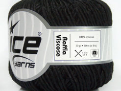 Lot of 6 Skeins Ice Yarns RAFFIA VISCOSE (100% Viscose) Yarn Black