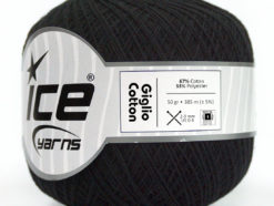 Lot of 6 Skeins Ice Yarns GIGLIO COTTON (67% Cotton) Hand Knitting Yarn Black
