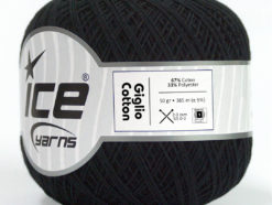 Lot of 6 Skeins Ice Yarns GIGLIO COTTON (67% Cotton) Yarn Anthracite Black