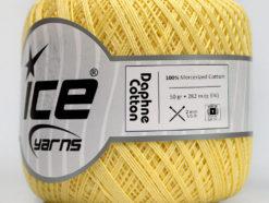 Lot of 6 Skeins Ice Yarns DAPHNE COTTON (100% Mercerized Cotton) Yarn Light Yellow