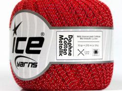 Lot of 6 Skeins Ice Yarns DAPHNE COTTON METALLIC (96% Mercerized Cotton) Yarn Red Silver