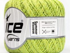 Lot of 6 Skeins Ice Yarns SUMMER VISCOSE (72% Mercerized Cotton 28% Viscose) Yarn Light Green