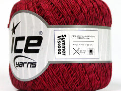 Lot of 6 Skeins Ice Yarns SUMMER VISCOSE (72% Mercerized Cotton 28% Viscose) Yarn Burgundy