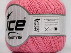 Lot of 6 Skeins Ice Yarns SUMMER VISCOSE (72% Mercerized Cotton 28% Viscose) Yarn Pink