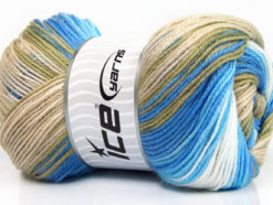 Lot of 4 x 100gr Skeins Ice Yarns MAGIC BABY Yarn Beige Blue Shades White