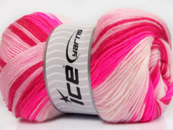 Lot of 4 x 100gr Skeins Ice Yarns MAGIC BABY Yarn Neon Pink Pink Shades