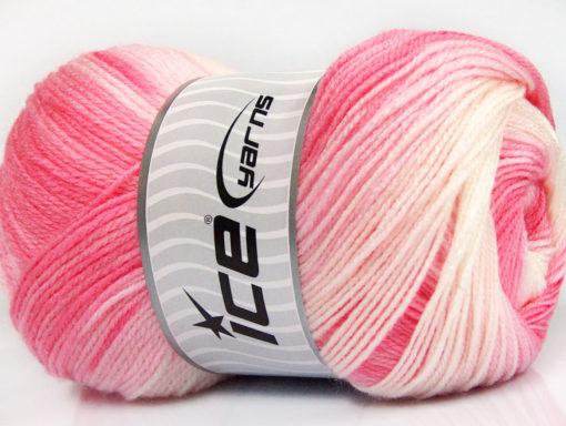 Lot of 4 x 100gr Skeins Ice Yarns MAGIC BABY Yarn Pink Shades White