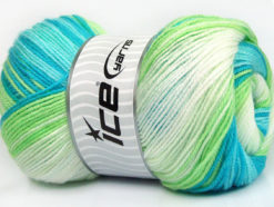 Lot of 4 x 100gr Skeins Ice Yarns MAGIC BABY Yarn Blue Shades Green White