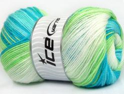 Lot of 4 x 100gr Skeins Ice Yarns MAGIC BABY Yarn Blue Shades Green White