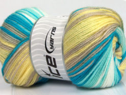 Lot of 4 x 100gr Skeins Ice Yarns MAGIC BABY Yarn Turquoise Mint Green White Yellow Beige