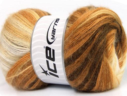 Lot of 4 x 100gr Skeins Ice Yarns MOHAIR MAGIC (20% Mohair 20% Wool) Yarn Brown Camel Cream
