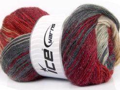 Lot of 4 x 100gr Skeins Ice Yarns MOHAIR MAGIC GLITZ (20% Mohair 20% Wool) Yarn Grey Burgundy Red Cream