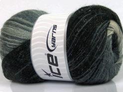 Lot of 4 x 100gr Skeins Ice Yarns MOHAIR MAGIC GLITZ (20% Mohair 20% Wool) Yarn Black Grey Shades White