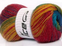 Lot of 4 x 100gr Skeins Ice Yarns MOHAIR MAGIC GLITZ (20% Mohair 20% Wool) Yarn Rainbow