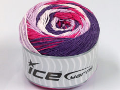Lot of 2 x 200gr Skeins Ice Yarns CAKES NATURAL COTTON (100% Cotton) Yarn Purple Fuchsia Lilac White