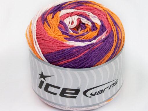 Lot of 2 x 200gr Skeins Ice Yarns CAKES NATURAL COTTON (100% Cotton) Yarn Salmon Purple Orange White
