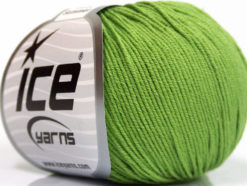 Lot of 8 Skeins Ice Yarns BABY SUMMER (60% Cotton) Hand Knitting Yarn Green