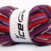 Lot of 4 x 100gr Skeins Ice Yarns SUPER SOCK (75% Superwash Wool) Yarn Purple Lilac Red Orange Black White