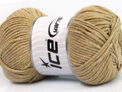Lot of 4 x 100gr Skeins Ice Yarns LORENA WORSTED (55% Cotton) Yarn Light Brown