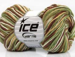 Lot of 8 Skeins Ice Yarns LORENA PRINT (55% Cotton) Yarn Khaki Brown Beige White