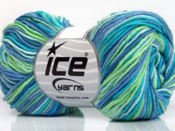 Lot of 8 Skeins Ice Yarns LORENA PRINT (55% Cotton) Yarn Blue Shades Green Turquoise