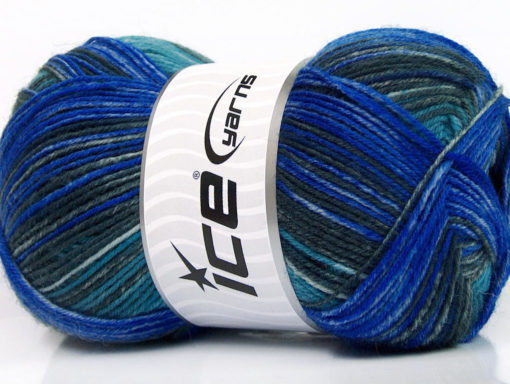 Lot of 4 x 100gr Skeins Ice Yarns SALE SOCK YARN (75% Superwash Wool) Yarn Blue Grey Turquoise
