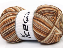 Lot of 4 x 100gr Skeins Ice Yarns PRINT SOCK (75% Superwash Wool) Yarn Brown Shades Camel