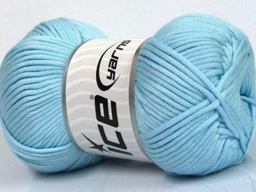 Lot of 4 x 100gr Skeins Ice Yarns TUBE VISCOSE (73% Viscose) Yarn Light Blue