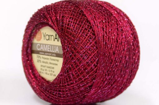 Lot of 10 Skeins YarnArt CAMELLIA (30% Metallic) Yarn Burgundy Silver