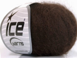 Lot of 6 Skeins Ice Yarns SUPER KID MOHAIR (52% SuperKid Mohair 13% Superwash Extrafine Merino Wool) Yarn Dark Brown