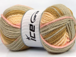Lot of 4 x 100gr Skeins Ice Yarns DESIGN WOOL WORSTED (30% Wool) Yarn Olive Green Grey Pink Light Yellow