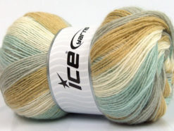 Lot of 4 x 100gr Skeins Ice Yarns ANGORA PRINT (20% Angora 20% Wool) Yarn Mint Green Olive Green Light Grey White