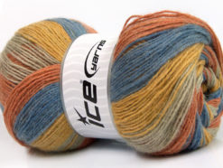 Lot of 4 x 100gr Skeins Ice Yarns ANGORA PRINT (20% Angora 20% Wool) Yarn Blue Gold Beige Salmon