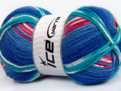 Lot of 4 x 100gr Skeins Ice Yarns FAVORITE ETHNIC Yarn Blue Shades Turquoise White Pink