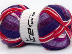 Lot of 4 x 100gr Skeins Ice Yarns FAVORITE ETHNIC Yarn Purple Shades Lilac Red White Brown