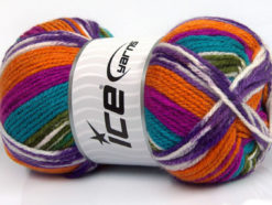 Lot of 4 x 100gr Skeins Ice Yarns FAVORITE ETHNIC Yarn Turquoise Fuchsia Orange Lilac Green White
