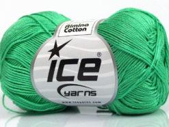 Lot of 6 Skeins Ice Yarns ALMINA COTTON (100% Mercerized Cotton) Yarn Emerald Green