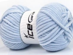 Lot of 4 x 100gr Skeins Ice Yarns CHENILLE BABY (100% MicroFiber) Yarn Light Indigo Blue