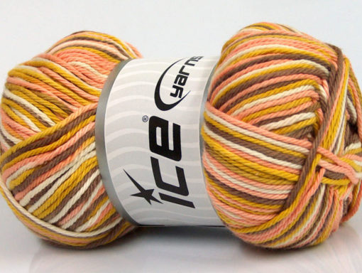 Lot of 4 x 100gr Skeins Ice Yarns PLAID COTTON (100% Cotton) Yarn Gold Camel Salmon White
