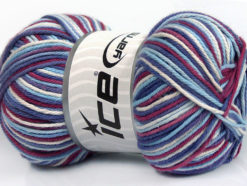 Lot of 4 x 100gr Skeins Ice Yarns PLAID COTTON (100% Cotton) Yarn Maroon Blue Shades White Lilac