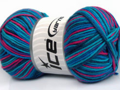 Lot of 4 x 100gr Skeins Ice Yarns PLAID COTTON (100% Cotton) Yarn Turquoise Shades Fuchsia Navy
