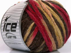Lot of 4 x 100gr Skeins Ice Yarns PAINT BALL (50% Wool) Yarn Fuchsia Brown Shades
