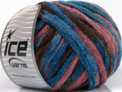 Lot of 4 x 100gr Skeins Ice Yarns PAINT BALL (50% Wool) Yarn Blue Shades Brown Salmon