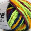 Lot of 4 x 100gr Skeins Ice Yarns PAINT BALL (50% Wool) Yarn Neon Green Burgundy Blue Gold