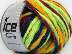 Lot of 4 x 100gr Skeins Ice Yarns PAINT BALL (50% Wool) Yarn Neon Green Burgundy Blue Gold