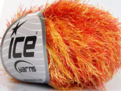 Lot of 8 Skeins Ice Yarns EYELASH COLORFUL Yarn Red Orange Yellow