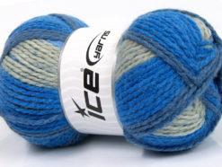 Lot of 4 x 100gr Skeins Ice Yarns DESIGN WOOL WORSTED (30% Wool) Yarn Blue Shades Grey
