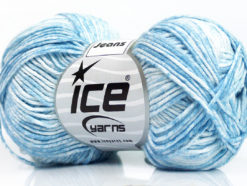 Lot of 8 Skeins Ice Yarns JEANS (100% Cotton) Yarn Light Blue White