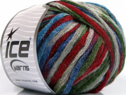 Lot of 4 x 100gr Skeins Ice Yarns PAINT BALL (50% Wool) Yarn Grey Burgundy Blue Green